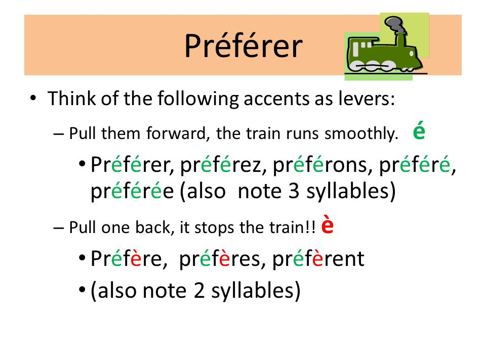 Préférer • Think of the following accents as levers: – Pull them forward, the train runs smoothly. é • Préférer, préférez, préférons, préféré, préféré