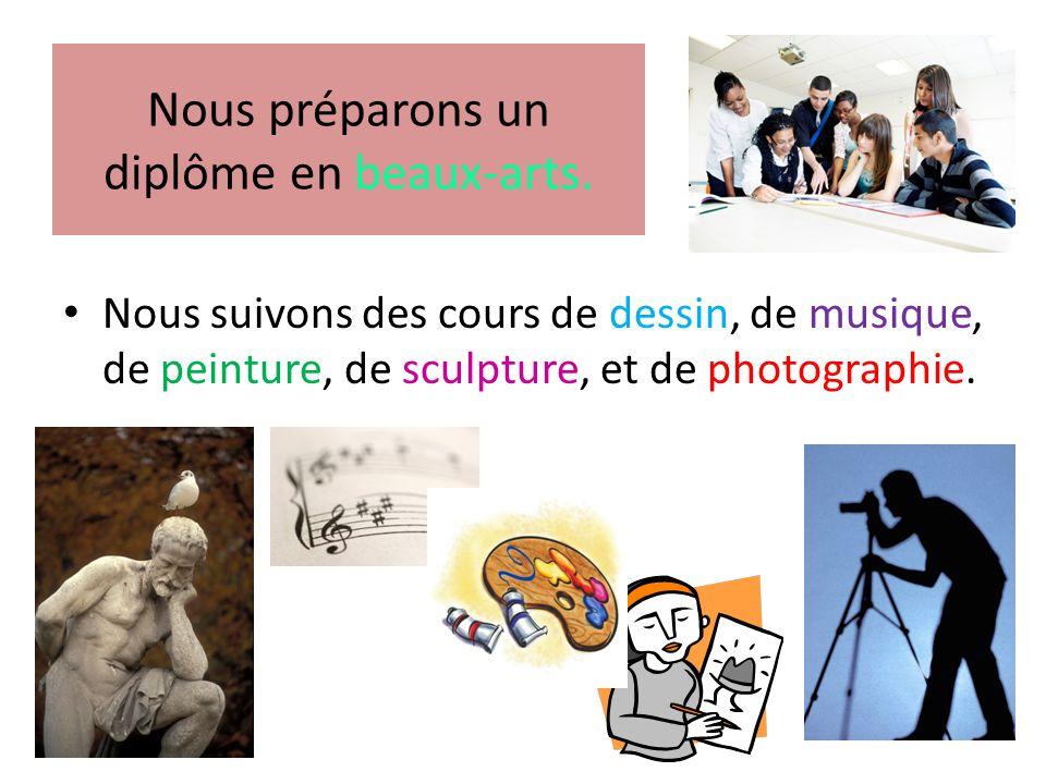 Nous préparons un diplôme en beaux-arts. • Nous suivons des cours de dessin, de musique, de peinture, de sculpture, et de photographie.
