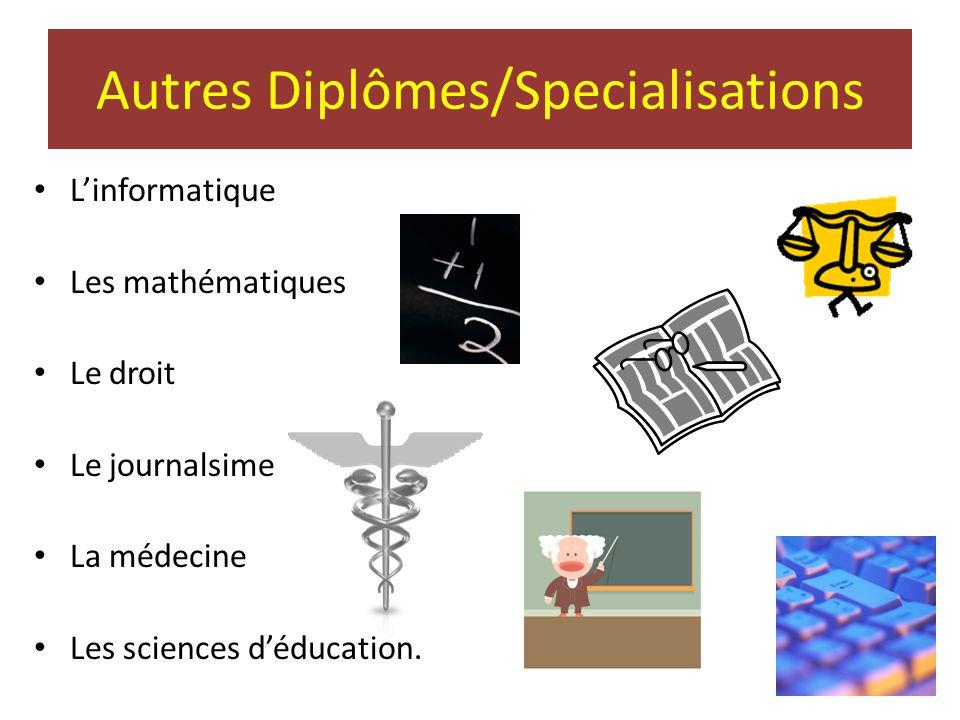Autres Diplômes/Specialisations • L'informatique • Les mathématiques • Le droit • Le journalsime • La médecine • Les sciences d'éducation.