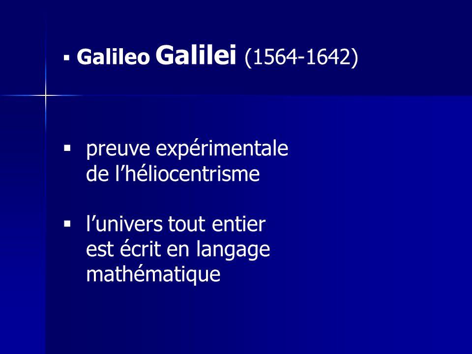  Galileo Galilei (1564-1642)  preuve expérimentale de l'héliocentrisme  l'univers tout entier est écrit en langage mathématique