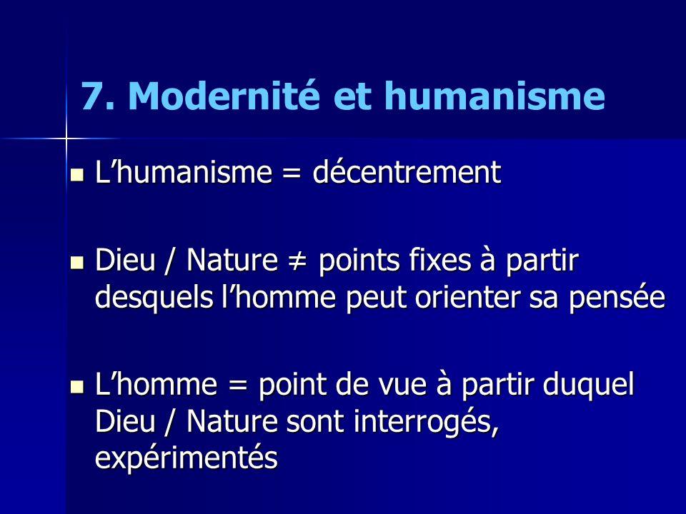  L'humanisme = décentrement  Dieu / Nature ≠ points fixes à partir desquels l'homme peut orienter sa pensée  L'homme = point de vue à partir duquel