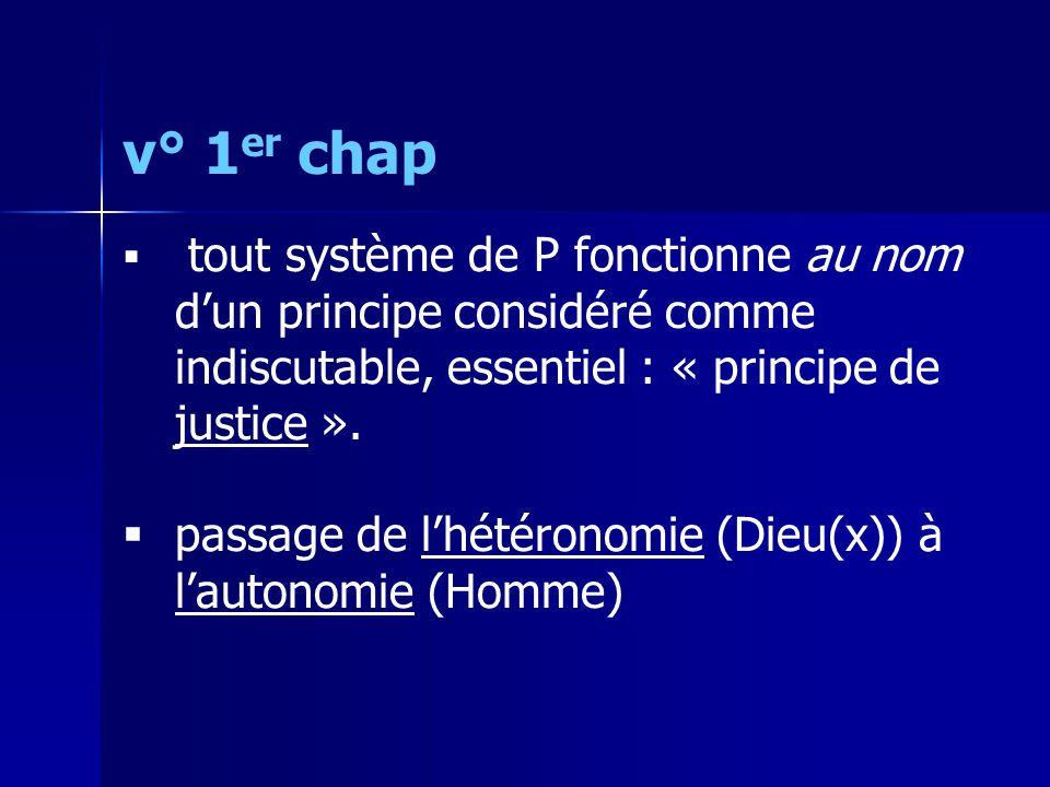 v° 1 er chap  tout système de P fonctionne au nom d'un principe considéré comme indiscutable, essentiel : « principe de justice ».  passage de l'hét