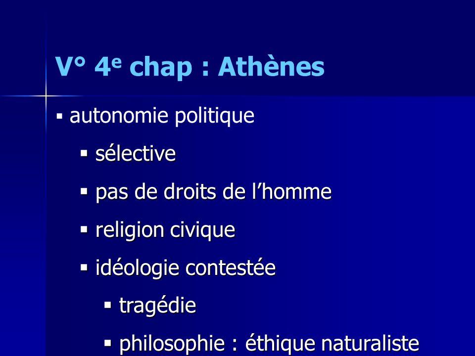 V° 4 e chap : Athènes  autonomie politique  sélective  pas de droits de l'homme  religion civique  idéologie contestée  tragédie  philosophie :