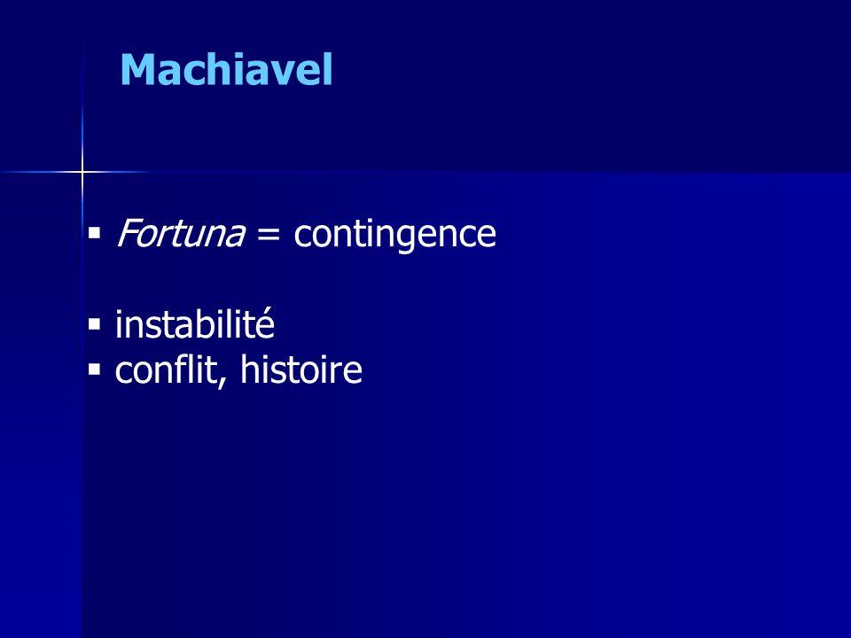  Fortuna = contingence  instabilité  conflit, histoire Machiavel
