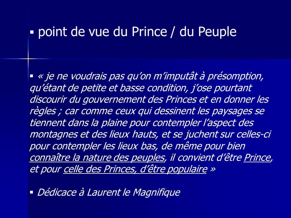  point de vue du Prince / du Peuple  « je ne voudrais pas qu'on m'imputât à présomption, qu'étant de petite et basse condition, j'ose pourtant disco