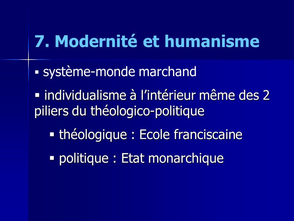 7. Modernité et humanisme  système-monde marchand  individualisme à l'intérieur même des 2 piliers du théologico-politique  théologique : Ecole fra