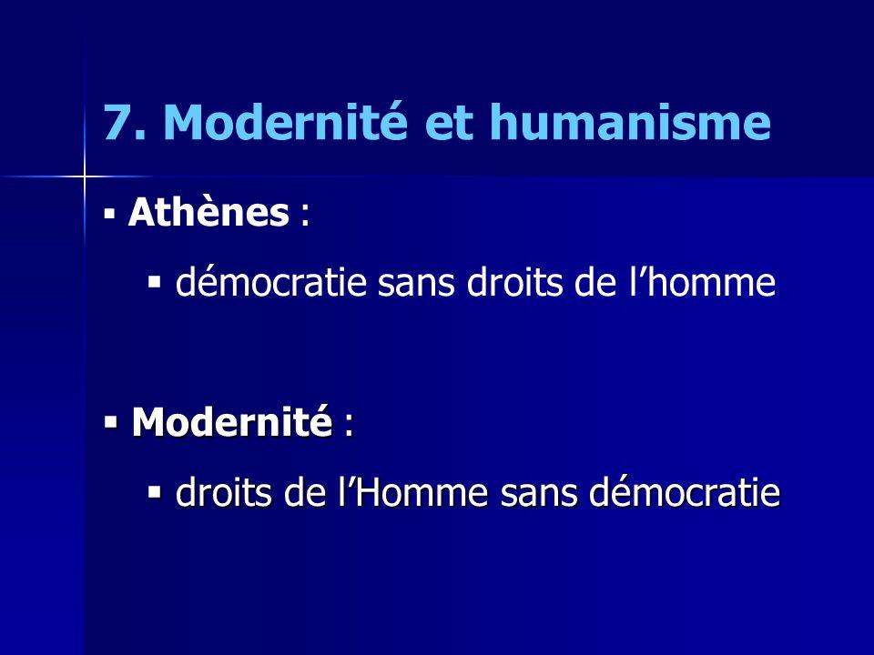 7. Modernité et humanisme  Athènes :  démocratie sans droits de l'homme  Modernité :  droits de l'Homme sans démocratie