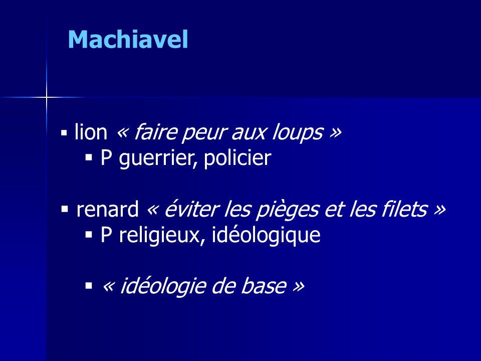  lion « faire peur aux loups »  P guerrier, policier  renard « éviter les pièges et les filets »  P religieux, idéologique  « idéologie de base »
