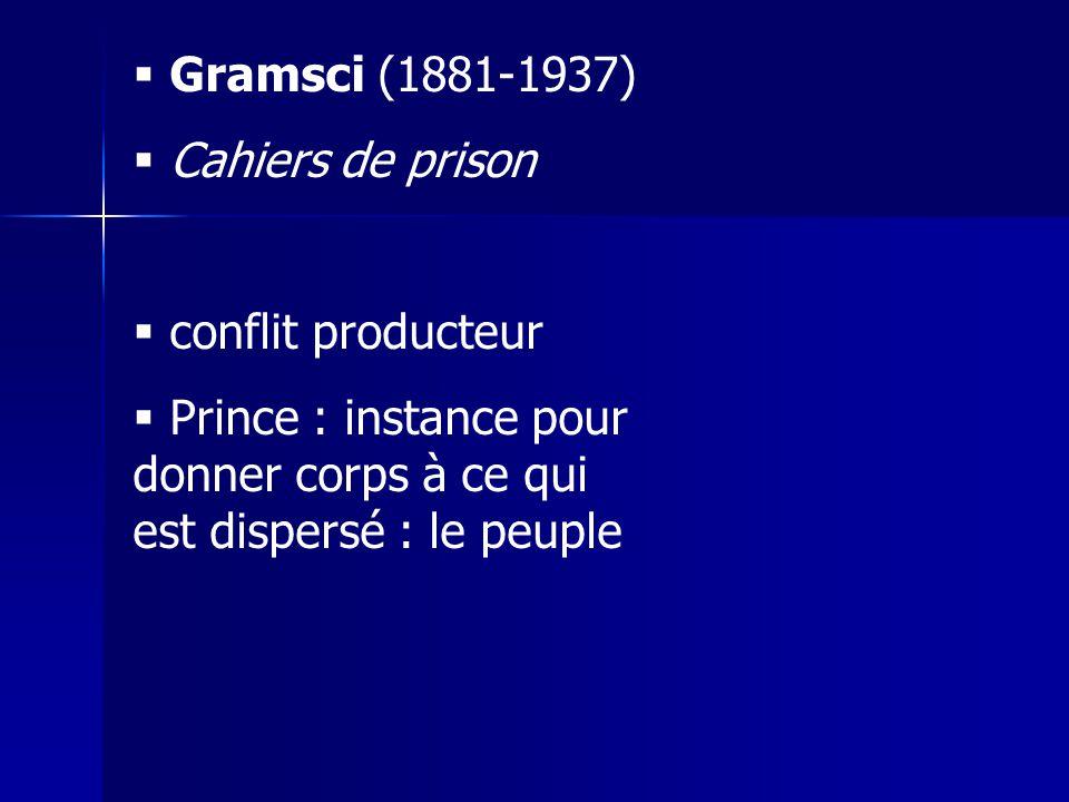  Gramsci (1881-1937)  Cahiers de prison  conflit producteur  Prince : instance pour donner corps à ce qui est dispersé : le peuple