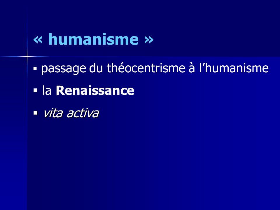 « humanisme »  humanisme pratique : conteste tout fondement métaphysique  théocentrisme  naturalisme  humanisme théorique : l'Homme est la référence de tout droit / politique