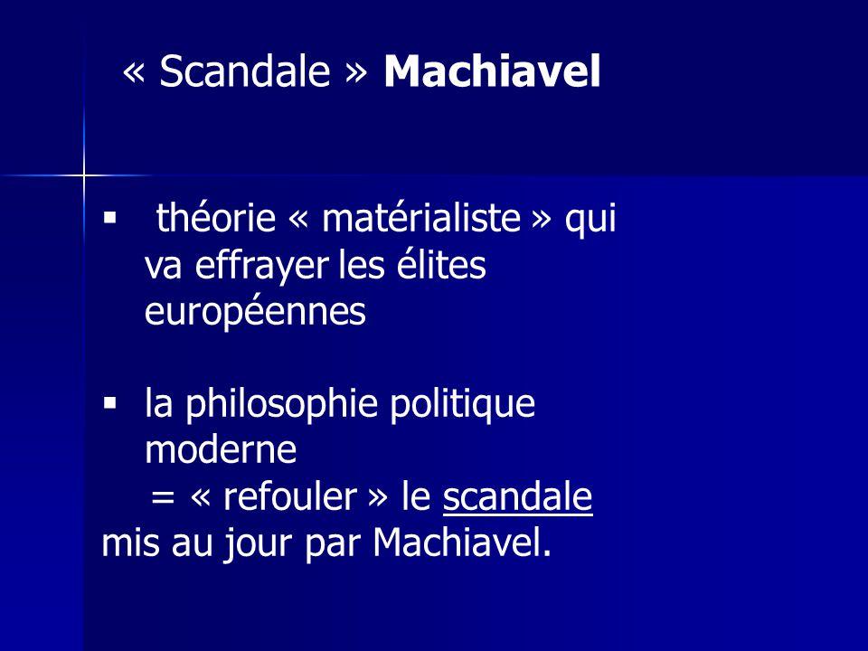  théorie « matérialiste » qui va effrayer les élites européennes  la philosophie politique moderne = « refouler » le scandale mis au jour par Machia