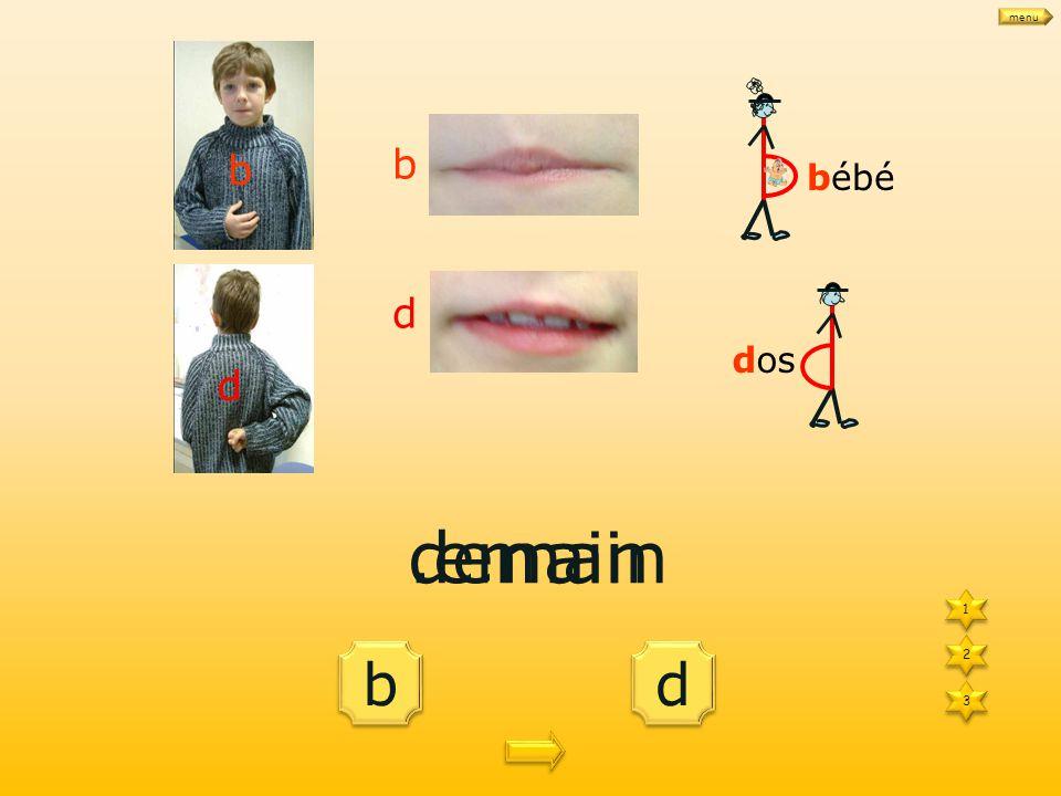 1 1 3 3 d d b b 2 2 le.épart bébé dos b d le départ b d menu