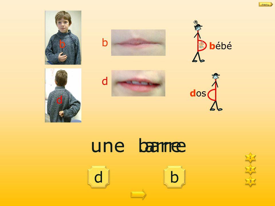 binbon dindon 1 1 3 3 2 2 bébé dos b d b d menu