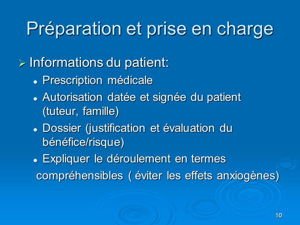 10 Préparation et prise en charge  Informations du patient:  Prescription médicale  Autorisation datée et signée du patient (tuteur, famille)  Dos