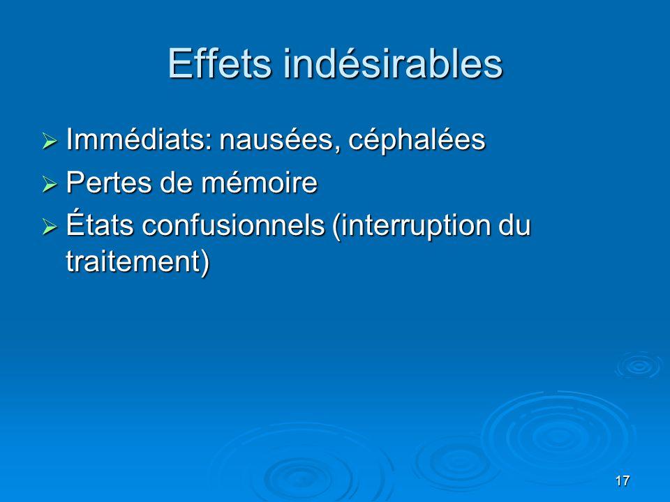 17 Effets indésirables  Immédiats: nausées, céphalées  Pertes de mémoire  États confusionnels (interruption du traitement)