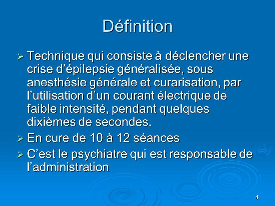 4 Définition  Technique qui consiste à déclencher une crise d'épilepsie généralisée, sous anesthésie générale et curarisation, par l'utilisation d'un