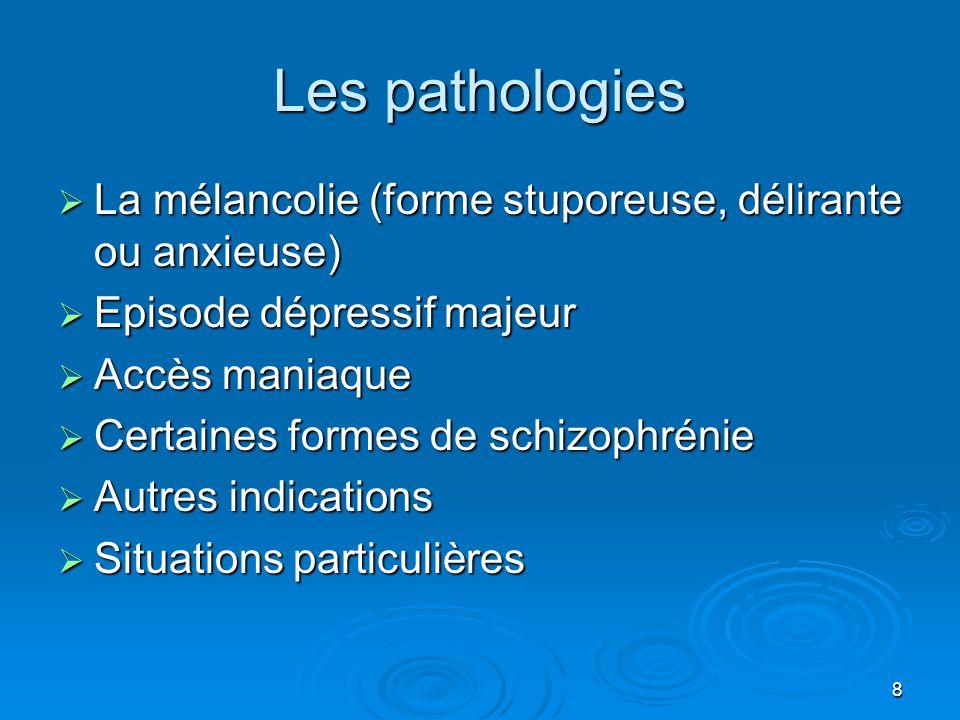 8 Les pathologies  La mélancolie (forme stuporeuse, délirante ou anxieuse)  Episode dépressif majeur  Accès maniaque  Certaines formes de schizoph