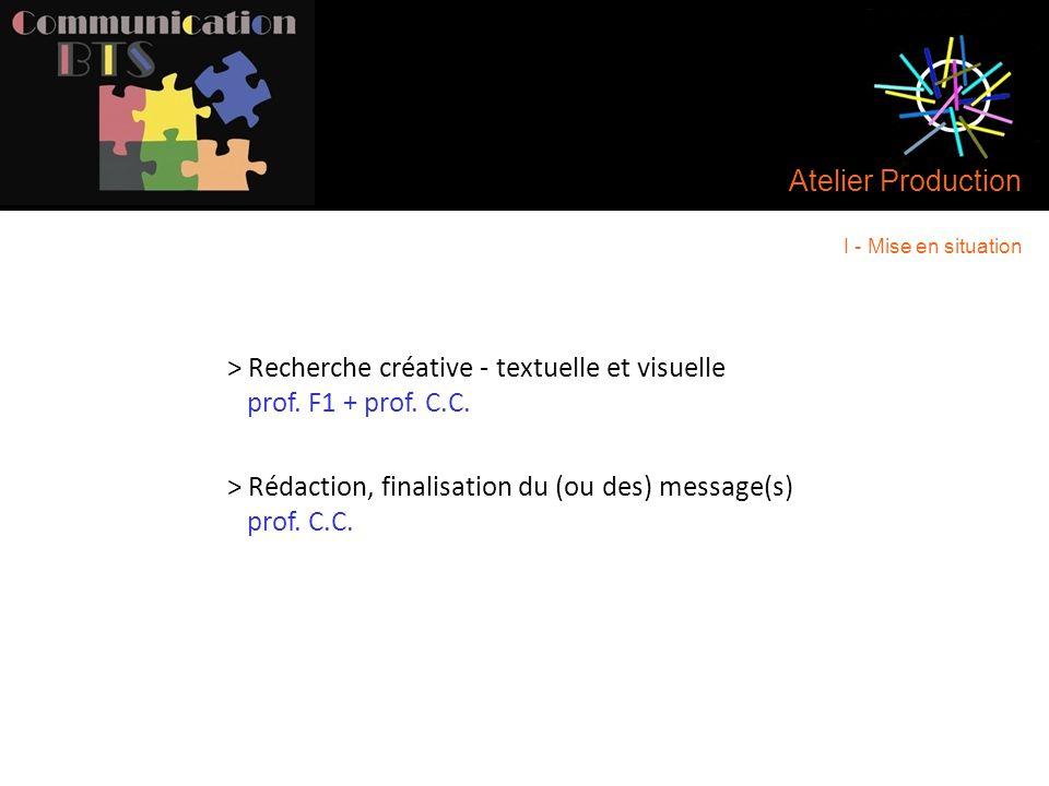 Atelier Production > Recherche créative - textuelle et visuelle prof. F1 + prof. C.C. > Rédaction, finalisation du (ou des) message(s) prof. C.C. I -