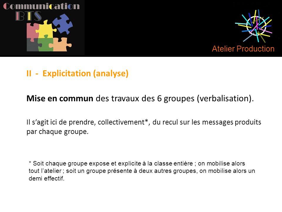 Atelier Production II - Explicitation (analyse) Mise en commun des travaux des 6 groupes (verbalisation). Il s'agit ici de prendre, collectivement*, d