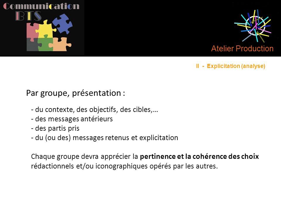 Atelier Production - du contexte, des objectifs, des cibles,… - des messages antérieurs - des partis pris - du (ou des) messages retenus et explicitat