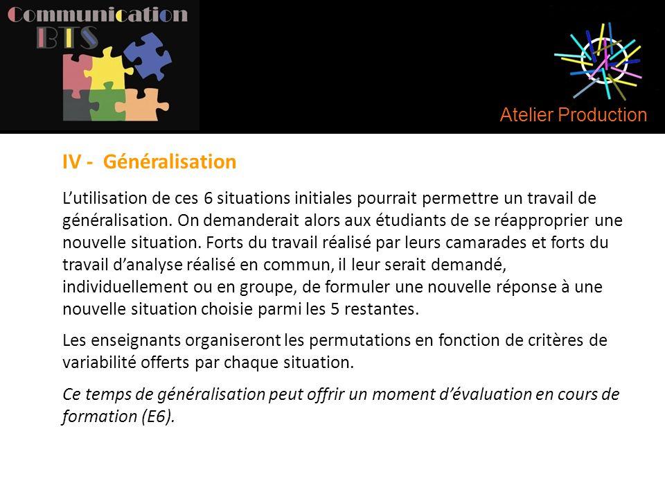 Atelier Production IV - Généralisation L'utilisation de ces 6 situations initiales pourrait permettre un travail de généralisation. On demanderait alo