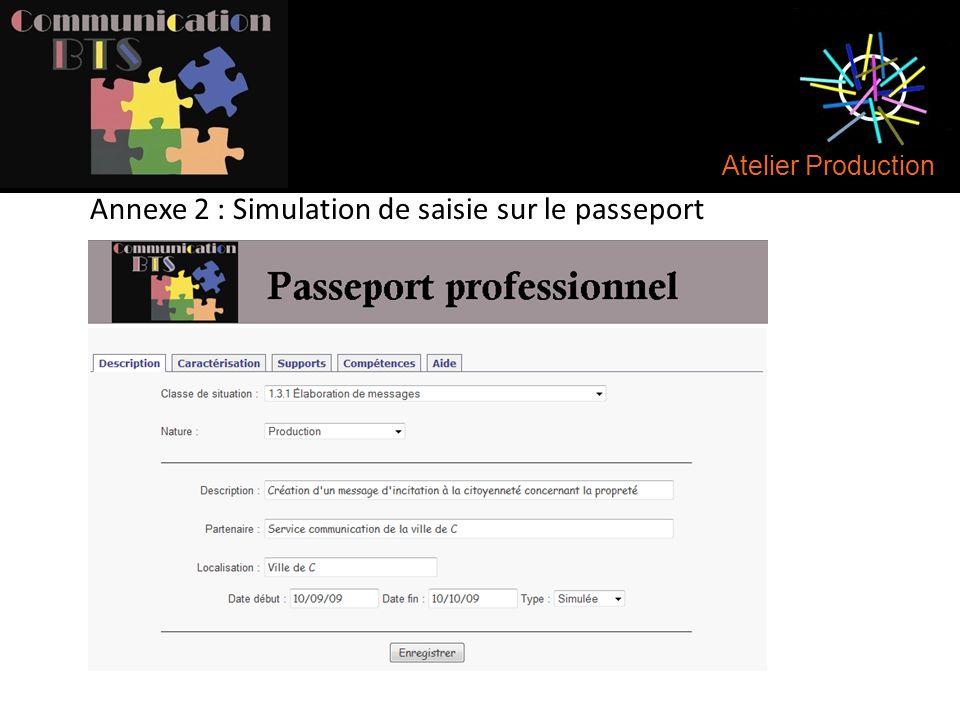 Annexe 2 : Simulation de saisie sur le passeport