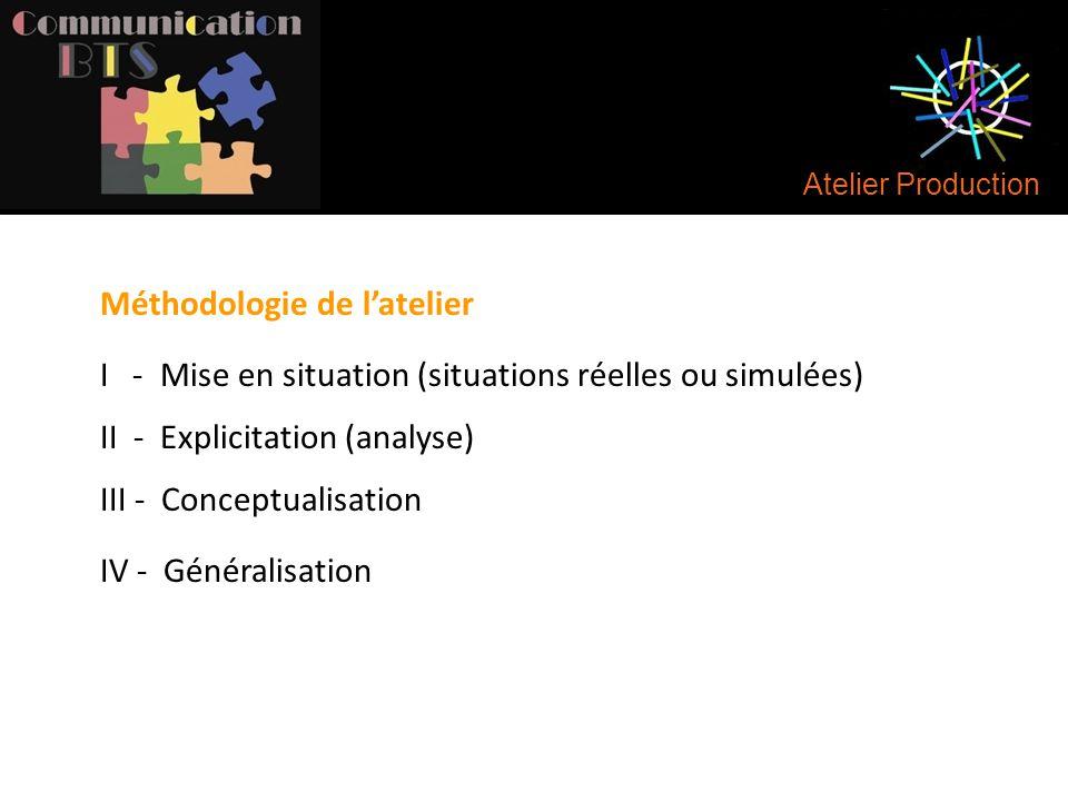Atelier Production I - Mise en situation (situations réelles ou simulées) II - Explicitation (analyse) III - Conceptualisation IV - Généralisation Mét