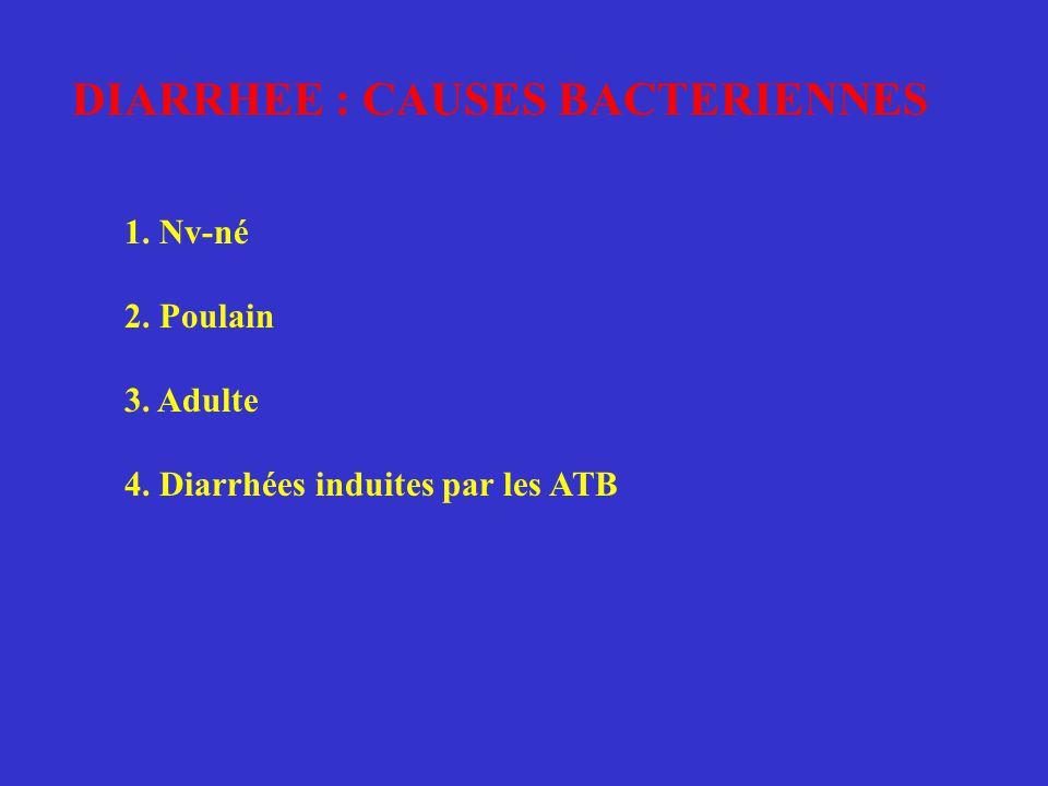 DIARRHEE : CAUSES BACTERIENNES 1. Nv-né 2. Poulain 3. Adulte 4. Diarrhées induites par les ATB