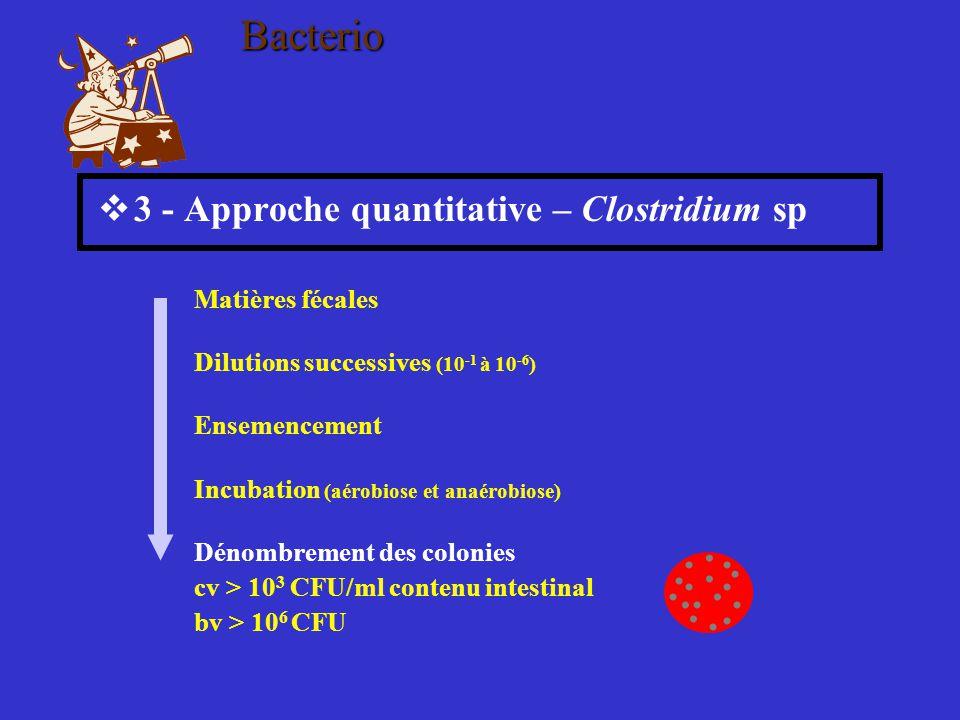  3 - Approche quantitative – Clostridium sp Matières fécales Dilutions successives (10 -1 à 10 -6 ) Ensemencement Incubation (aérobiose et anaérobios