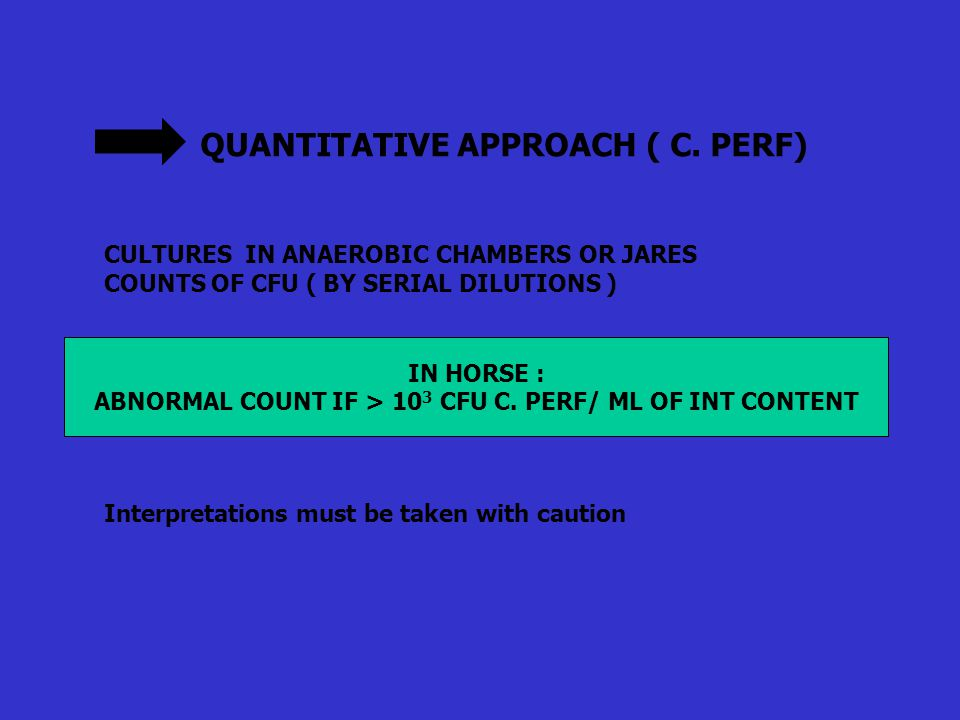 QUANTITATIVE APPROACH ( C. PERF) CULTURES IN ANAEROBIC CHAMBERS OR JARES COUNTS OF CFU ( BY SERIAL DILUTIONS ) Interpretations must be taken with caut