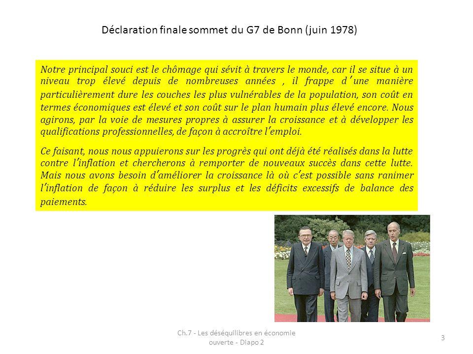 Déclaration finale sommet du G7 de Bonn (juin 1978) Ch.7 - Les déséquilibres en économie ouverte - Diapo 2 3 Notre principal souci est le chômage qui