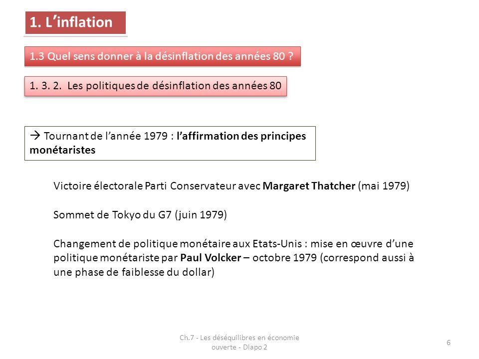 Ch.7 - Les déséquilibres en économie ouverte - Diapo 2 6 1. L'inflation 1.3 Quel sens donner à la désinflation des années 80 ? 1. 3. 2. Les politiques