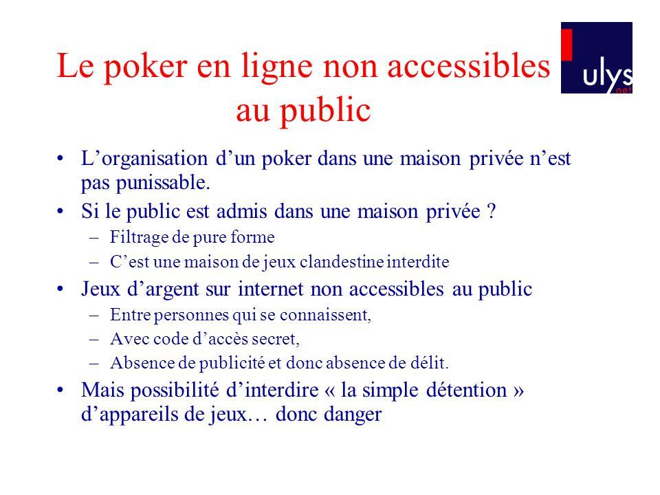 Le poker en ligne non accessibles au public •L'organisation d'un poker dans une maison privée n'est pas punissable.