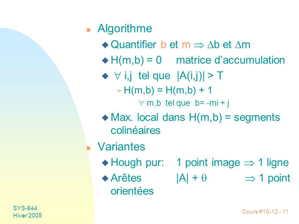 Cours #10-12 - 11 SYS-844 Hiver 2005 n Algorithme u Quantifier b et m   b et  m u H(m,b) = 0matrice d'accumulation u  i,j tel que |A(i,j)| > T F H(m,b) = H(m,b) + 1  m,b tel que b= -mi + j u Max.