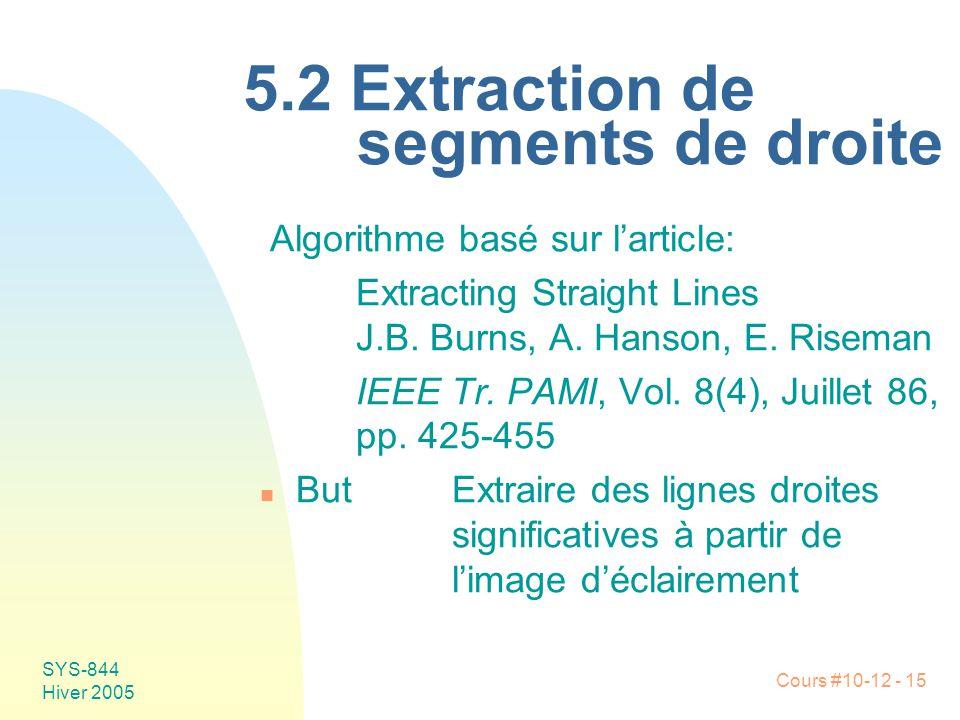 Cours #10-12 - 15 SYS-844 Hiver 2005 5.2 Extraction de segments de droite Algorithme basé sur l'article: Extracting Straight Lines J.B. Burns, A. Hans