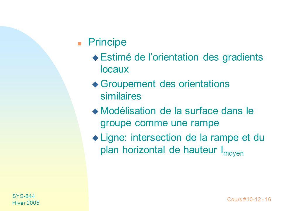 Cours #10-12 - 16 SYS-844 Hiver 2005 n Principe u Estimé de l'orientation des gradients locaux u Groupement des orientations similaires u Modélisation