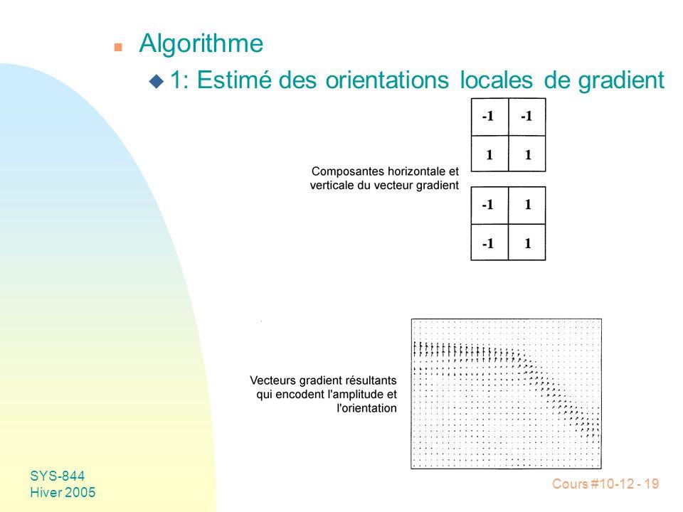 Cours #10-12 - 19 SYS-844 Hiver 2005 n Algorithme u 1: Estimé des orientations locales de gradient
