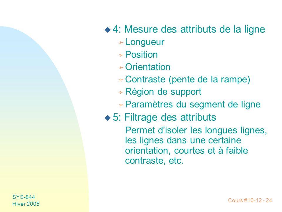 Cours #10-12 - 24 SYS-844 Hiver 2005 u 4: Mesure des attributs de la ligne F Longueur F Position F Orientation F Contraste (pente de la rampe) F Régio