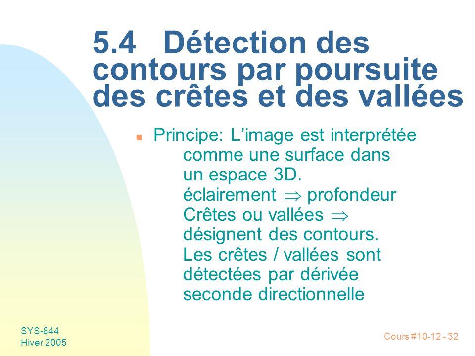 Cours #10-12 - 32 SYS-844 Hiver 2005 5.4 Détection des contours par poursuite des crêtes et des vallées n Principe:L'image est interprétée comme une surface dans un espace 3D.