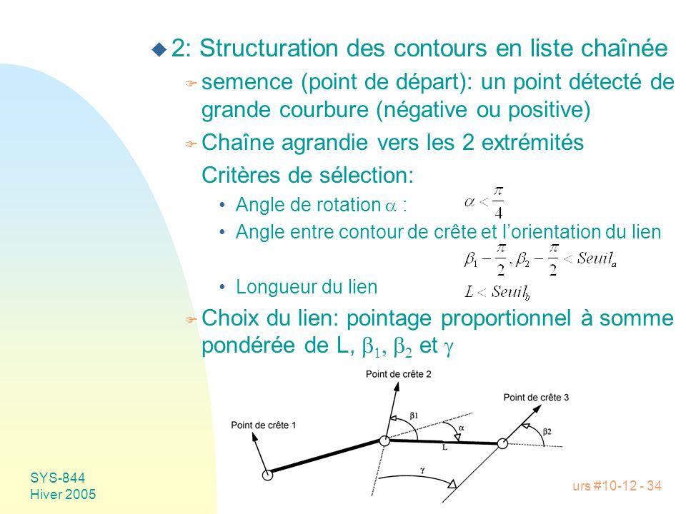 Cours #10-12 - 34 SYS-844 Hiver 2005 u 2: Structuration des contours en liste chaînée F semence (point de départ): un point détecté de grande courbure (négative ou positive) F Chaîne agrandie vers les 2 extrémités Critères de sélection: •Angle de rotation  : •Angle entre contour de crête et l'orientation du lien •Longueur du lien  Choix du lien: pointage proportionnel à somme pondérée de L,      et 