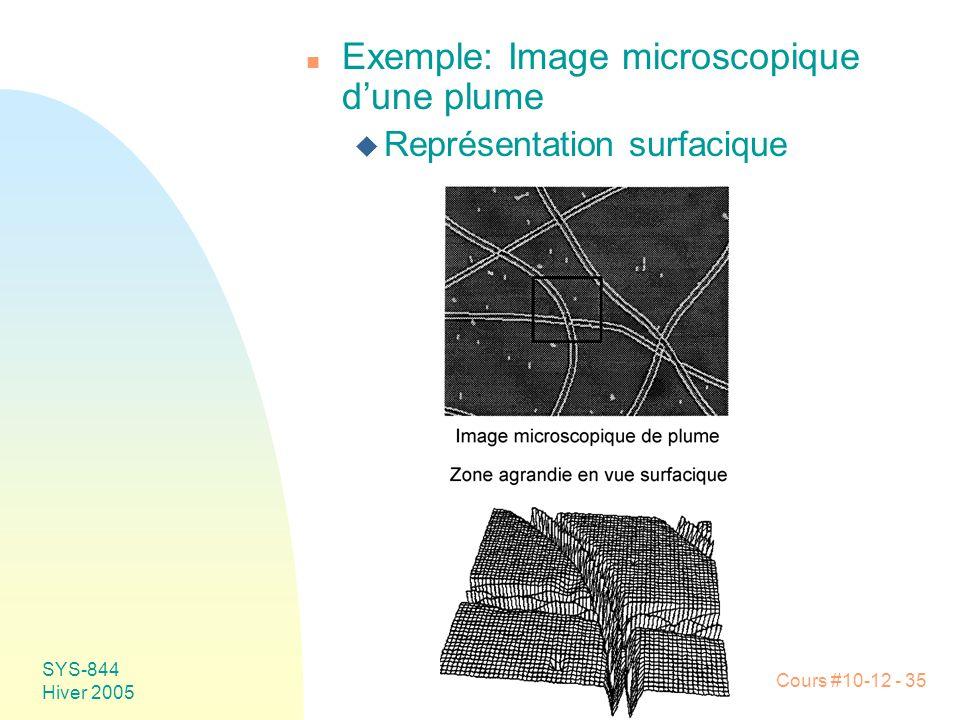 Cours #10-12 - 35 SYS-844 Hiver 2005 n Exemple: Image microscopique d'une plume u Représentation surfacique