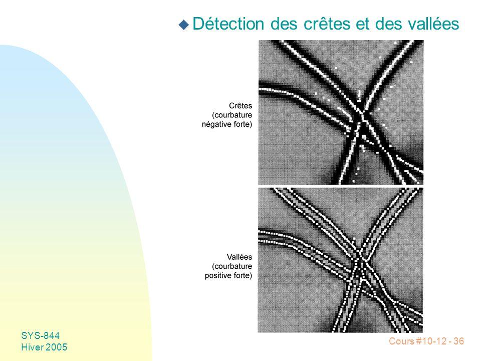 Cours #10-12 - 36 SYS-844 Hiver 2005 u Détection des crêtes et des vallées