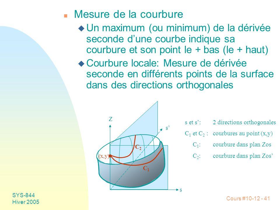 Cours #10-12 - 41 SYS-844 Hiver 2005 n Mesure de la courbure u Un maximum (ou minimum) de la dérivée seconde d'une courbe indique sa courbure et son point le + bas (le + haut) u Courbure locale: Mesure de dérivée seconde en différents points de la surface dans des directions orthogonales s et s':2 directions orthogonales C 1 et C 2 :courbures au point (x,y) C 1 :courbure dans plan Zos C 2 :courbure dans plan Zos' (x,y) s s' Z C1C1 C2C2