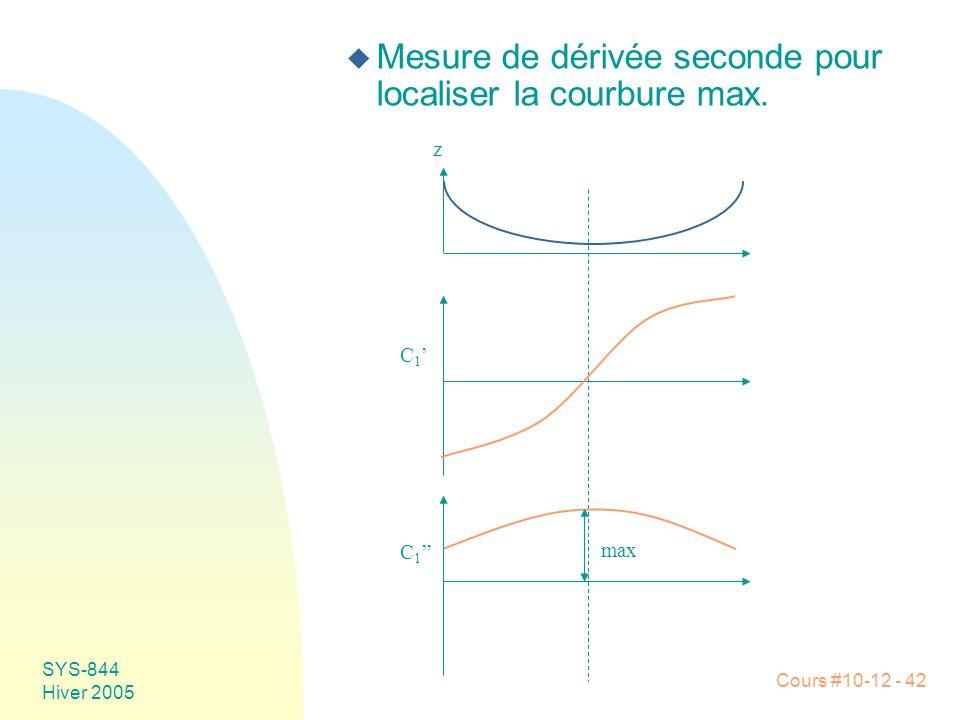 Cours #10-12 - 42 SYS-844 Hiver 2005 u Mesure de dérivée seconde pour localiser la courbure max. z C1'C1' C 1 '' max