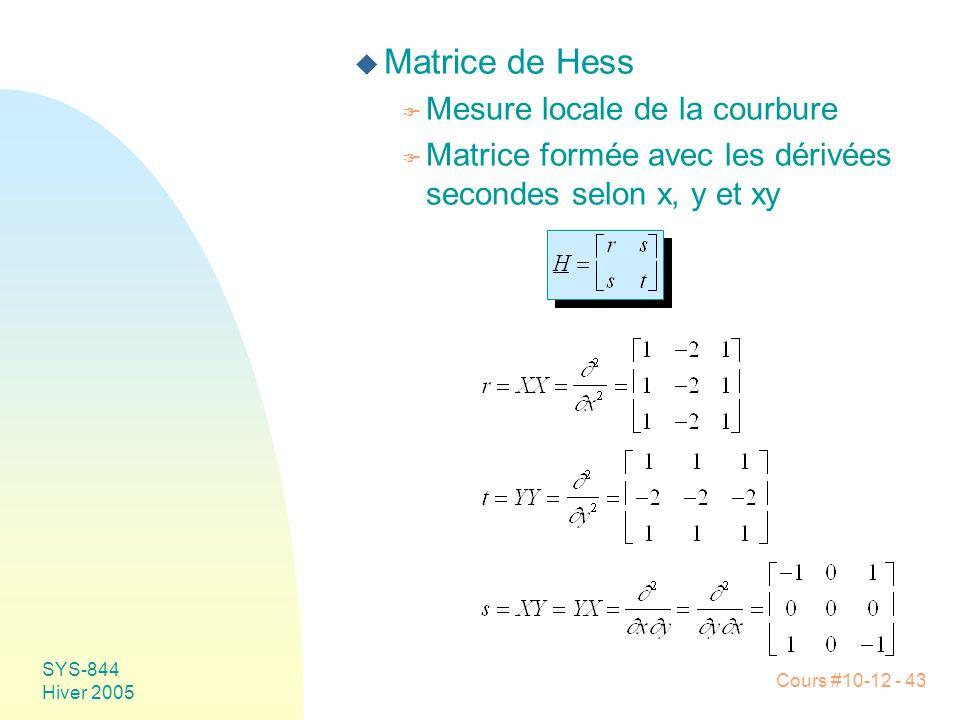 Cours #10-12 - 43 SYS-844 Hiver 2005 u Matrice de Hess F Mesure locale de la courbure F Matrice formée avec les dérivées secondes selon x, y et xy