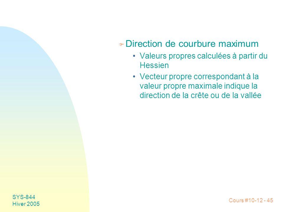 Cours #10-12 - 45 SYS-844 Hiver 2005 F Direction de courbure maximum •Valeurs propres calculées à partir du Hessien •Vecteur propre correspondant à la