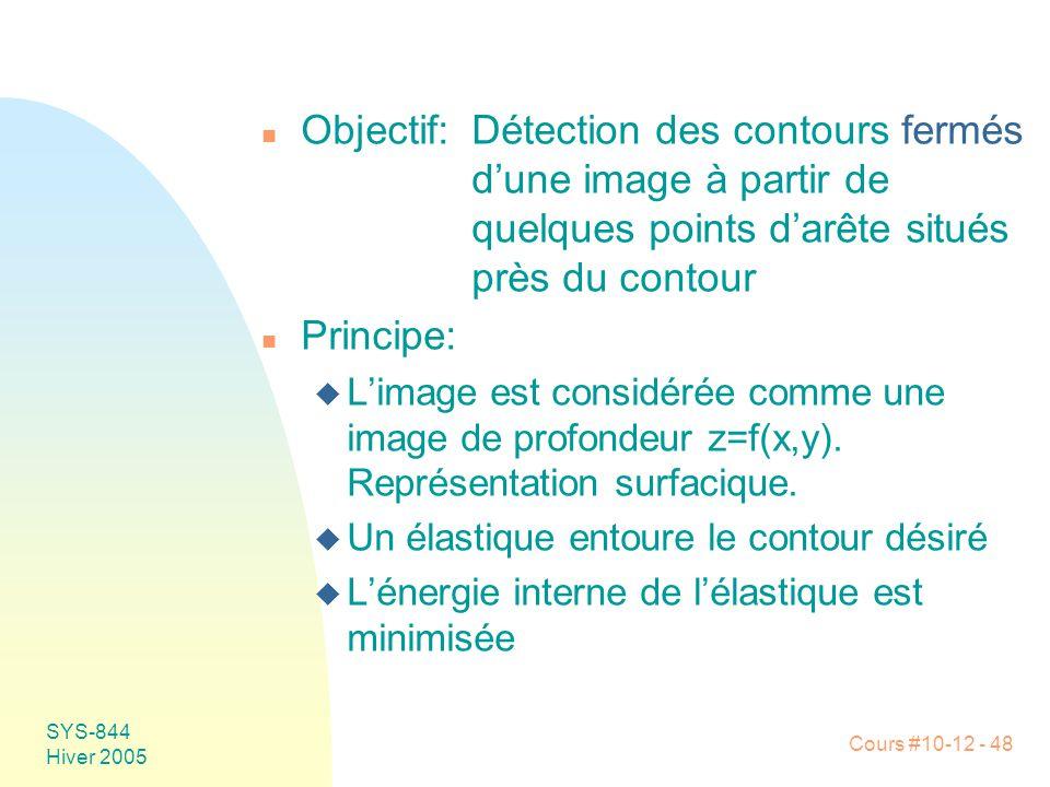 Cours #10-12 - 48 SYS-844 Hiver 2005 n Objectif:Détection des contours fermés d'une image à partir de quelques points d'arête situés près du contour n