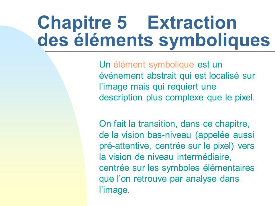 Chapitre 5Extraction des éléments symboliques Un élément symbolique est un événement abstrait qui est localisé sur l'image mais qui requiert une description plus complexe que le pixel.