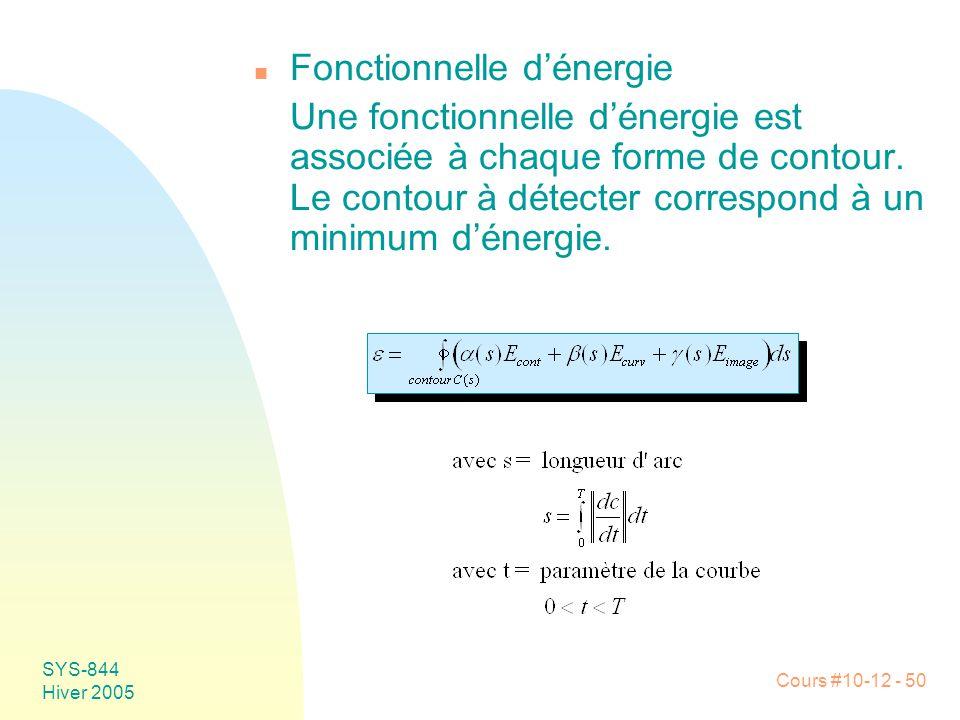 Cours #10-12 - 50 SYS-844 Hiver 2005 n Fonctionnelle d'énergie Une fonctionnelle d'énergie est associée à chaque forme de contour. Le contour à détect
