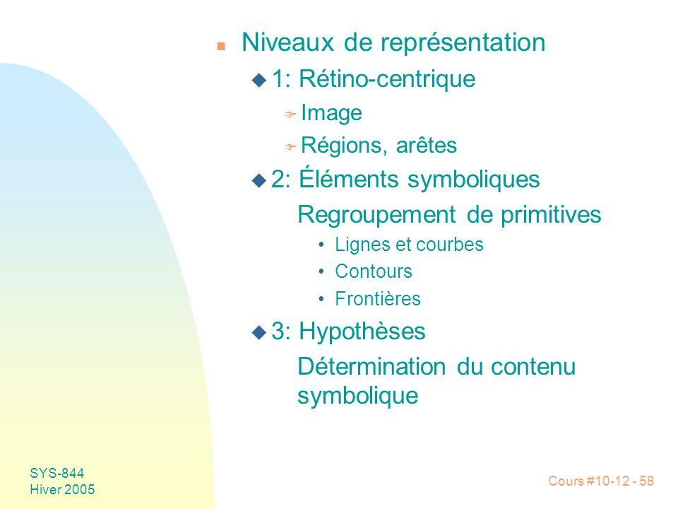 Cours #10-12 - 58 SYS-844 Hiver 2005 n Niveaux de représentation u 1: Rétino-centrique F Image F Régions, arêtes u 2: Éléments symboliques Regroupemen